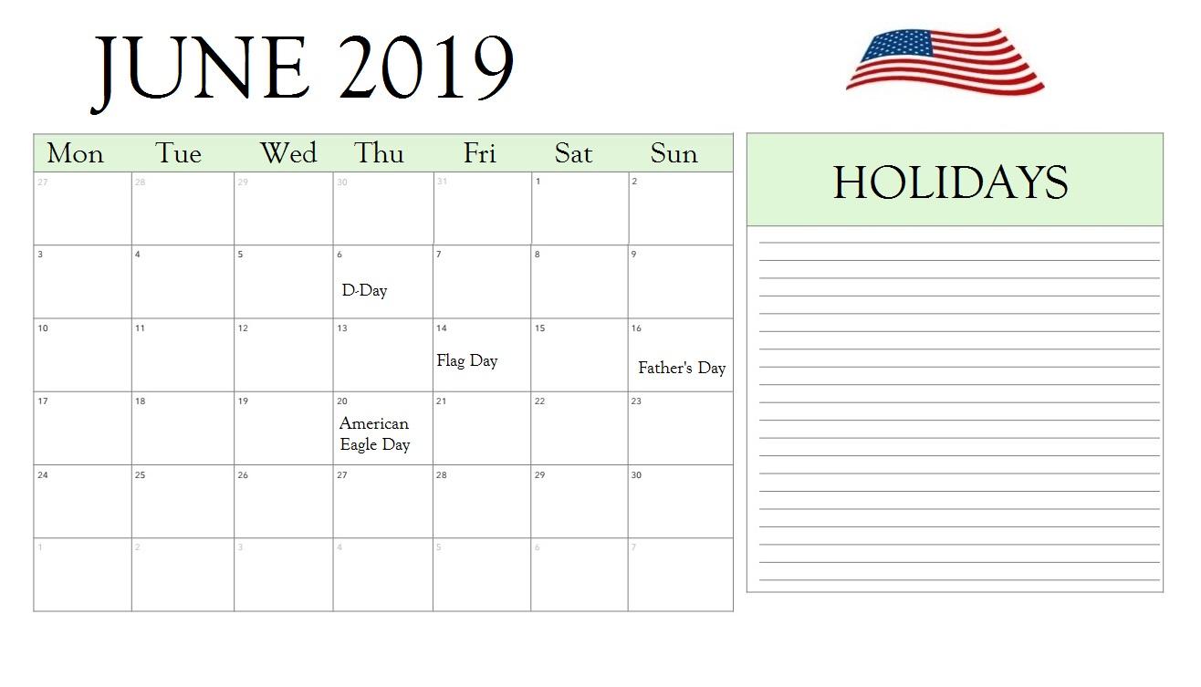 June 2019 Calendar USA