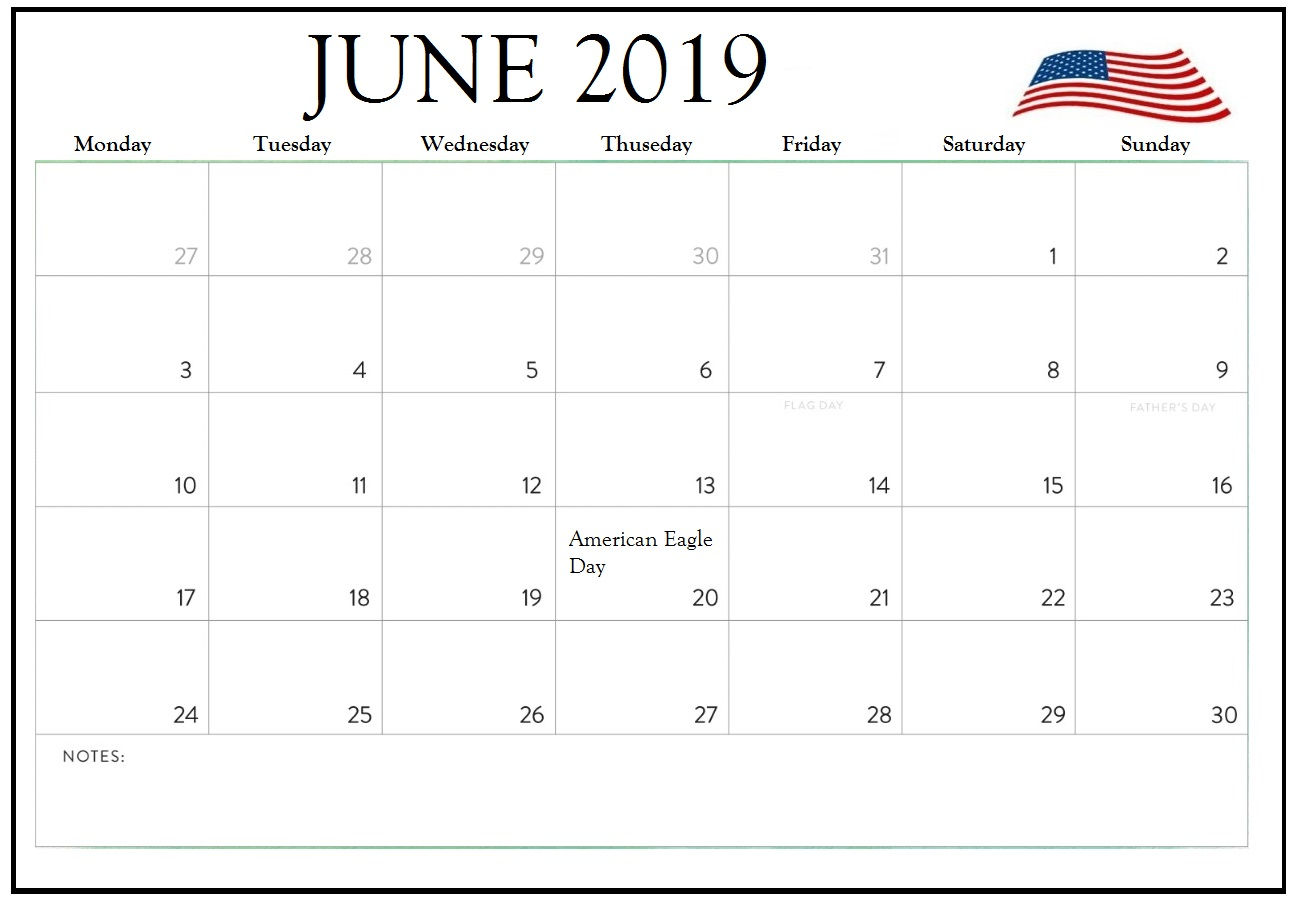 June 2019 Calendar United States Holidays