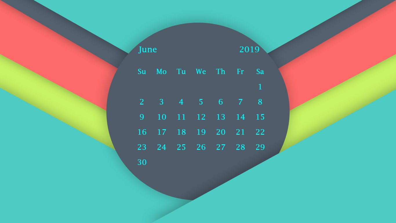 June 2019 Calendar Wallpaper
