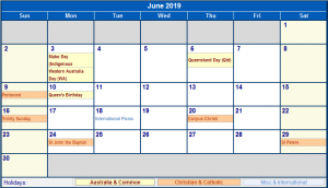 June 2019 Calendar With Holidays
