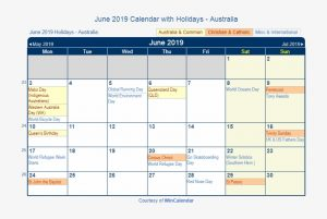 June 2019 Calendar With Holidays Australia