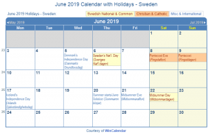 June 2019 Calendar With Holidays Swedan