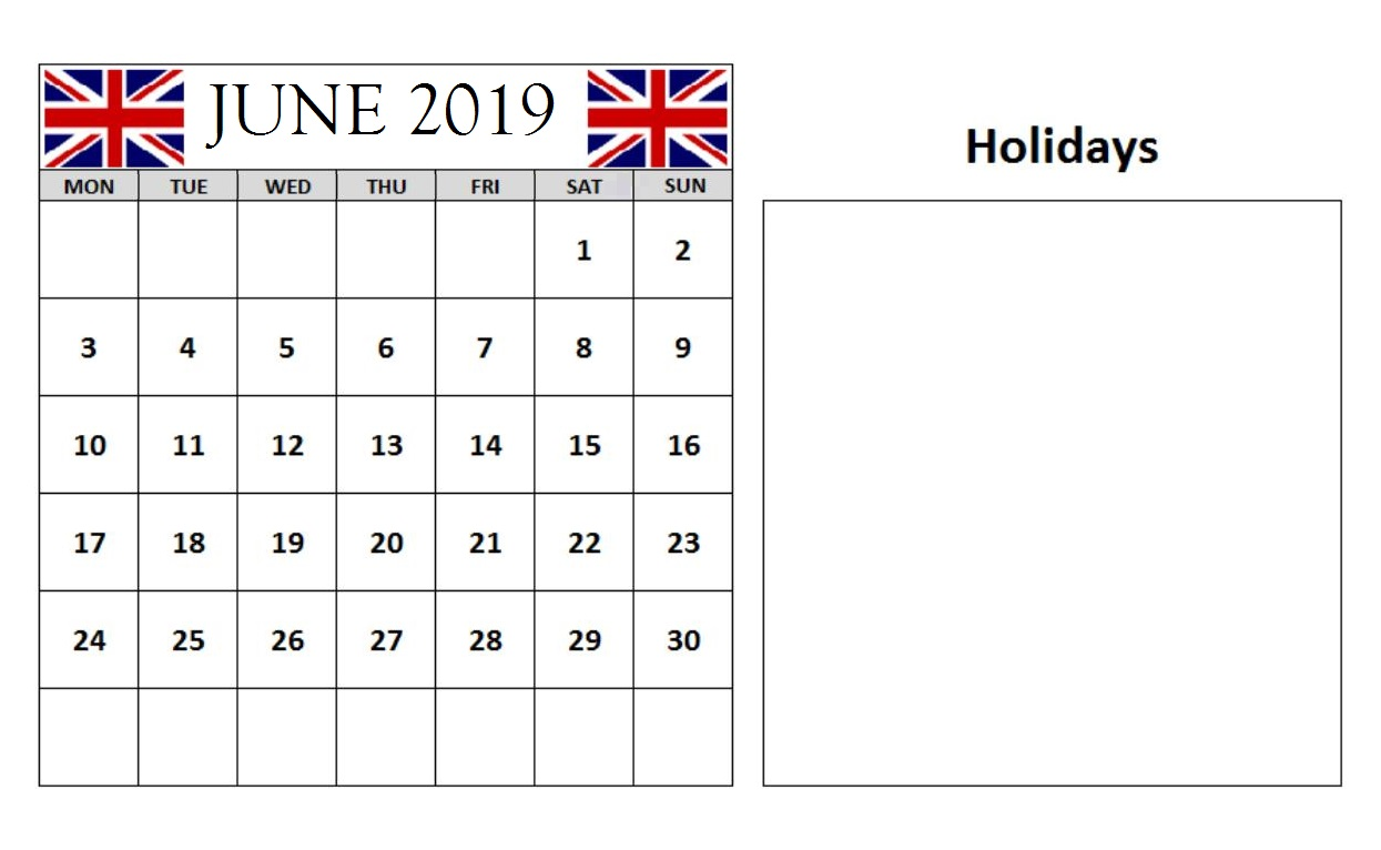June 2018 Calendar With Holidays UK