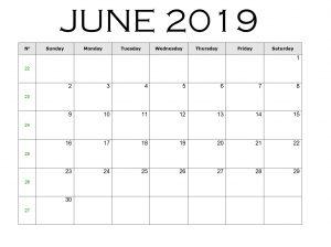 June 2019 Calendar Word Template