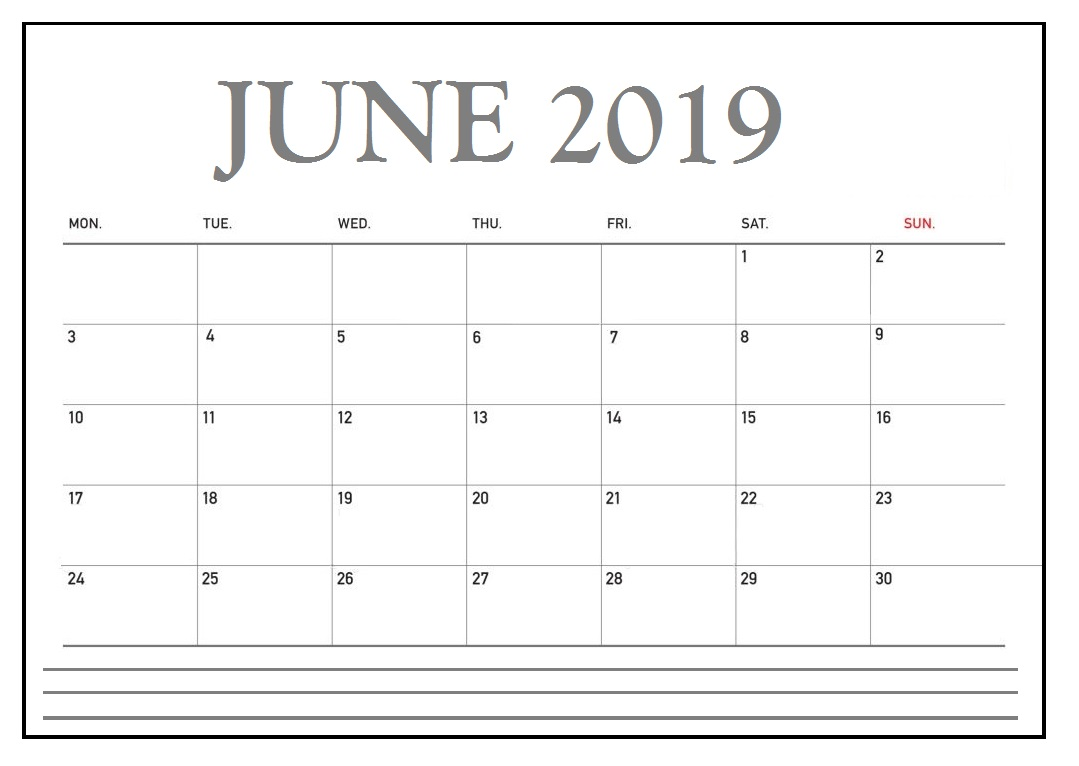 June 2019 Desk Calendar to Print