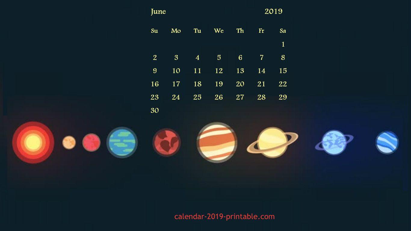 June 2019 Desktop Calendar Wallpaper