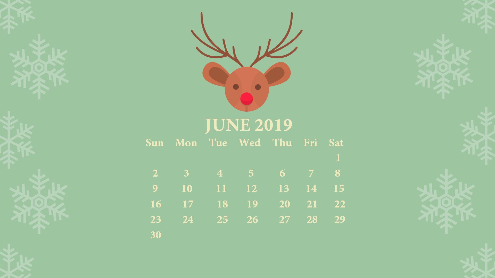 June 2019 Desktop Calendar with Wallpaper