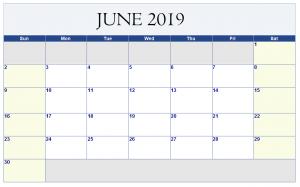 June 2019 Excel Calendar