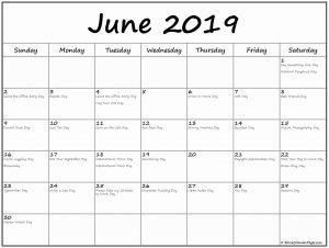 June 2019 Federal Holidays Calendar