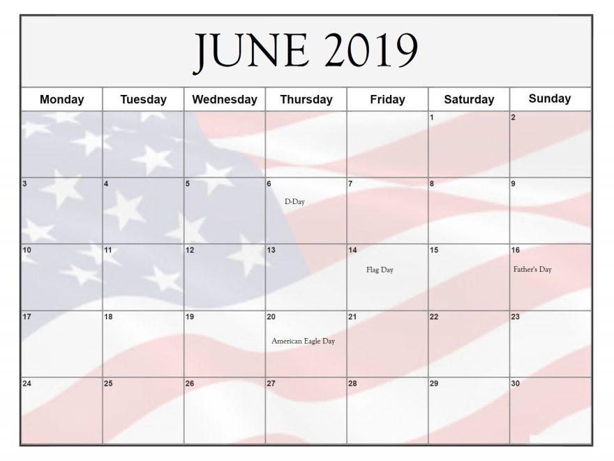 June 2019 Federal Holidays USA Calendar