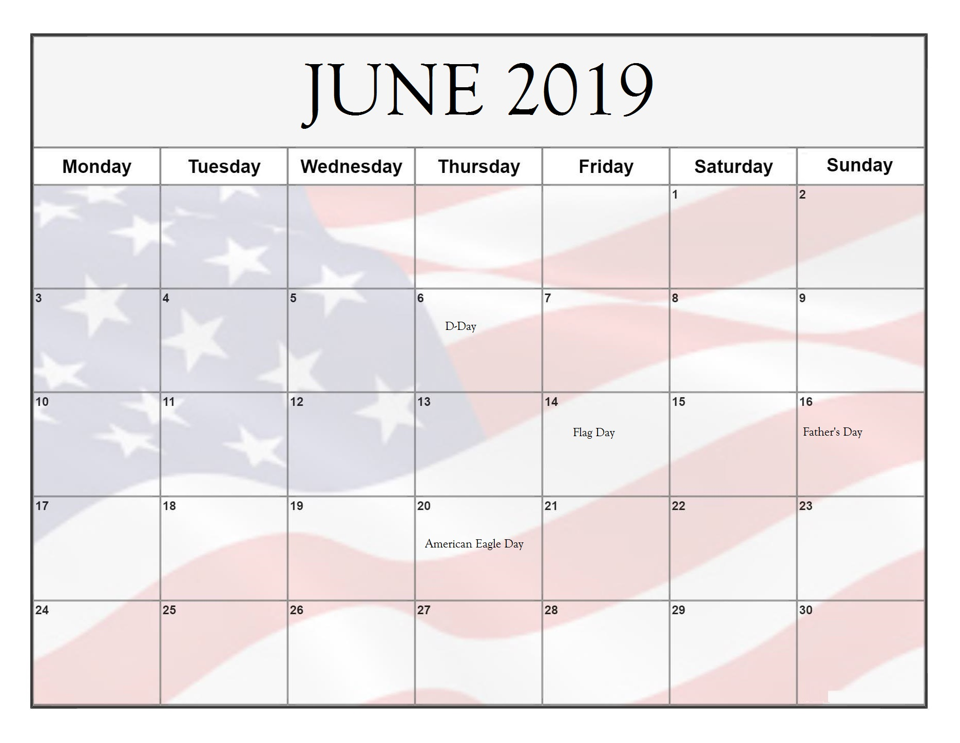 June 2019 Federal Holidays USA Calendar