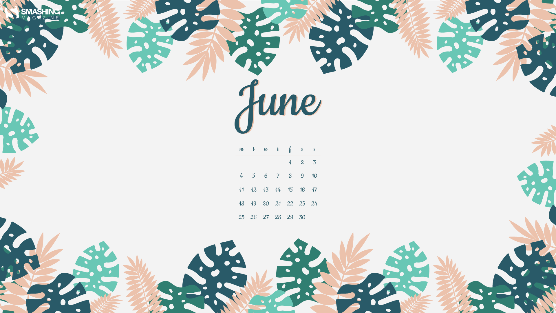 June 2019 Floral Calendar Wallpaper