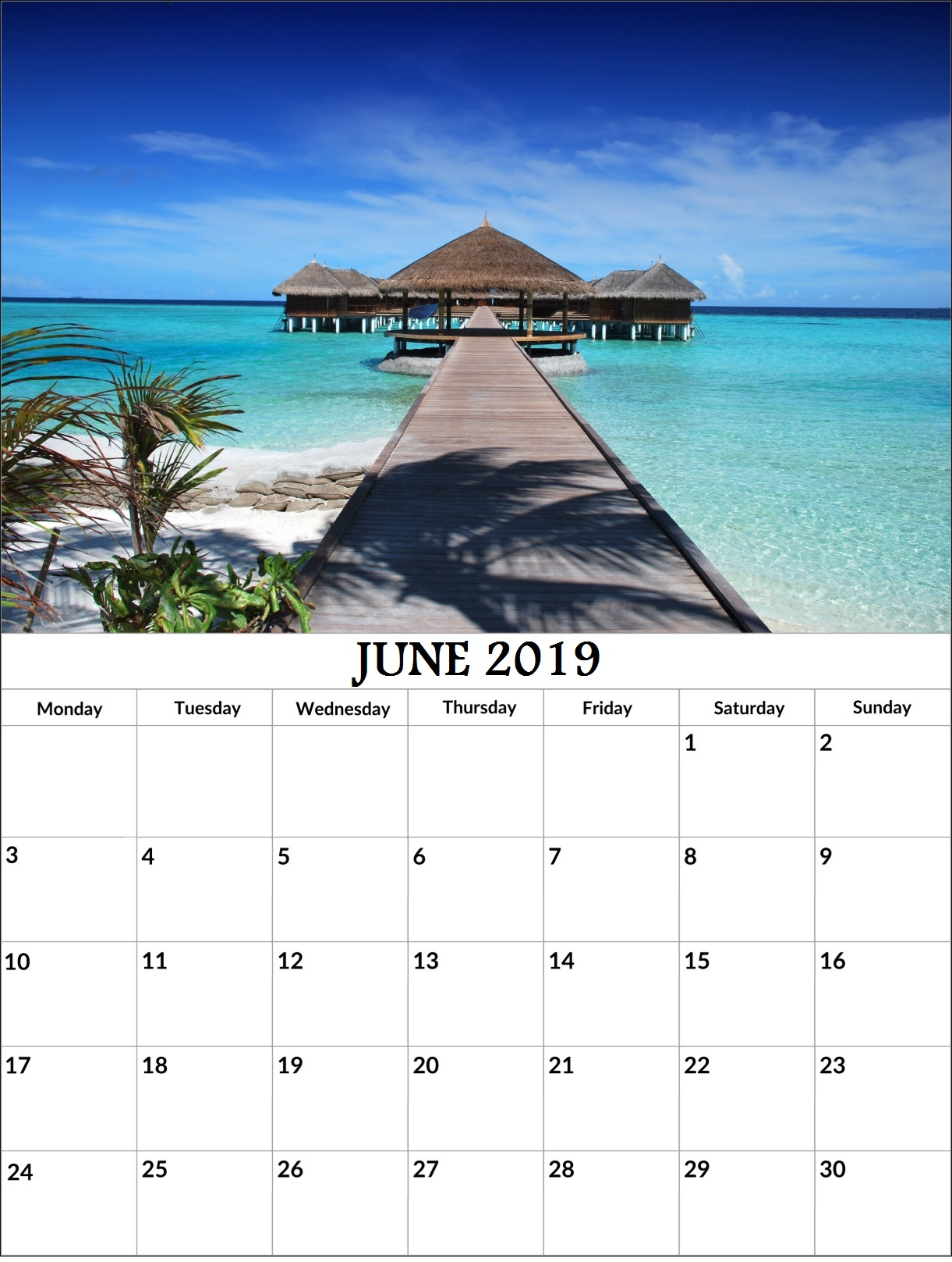 June 2019 Office Wall Calendar