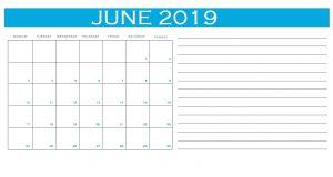 June 2019 Personalized Calendar