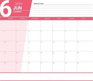 June 2019 Planner Calendar For Office