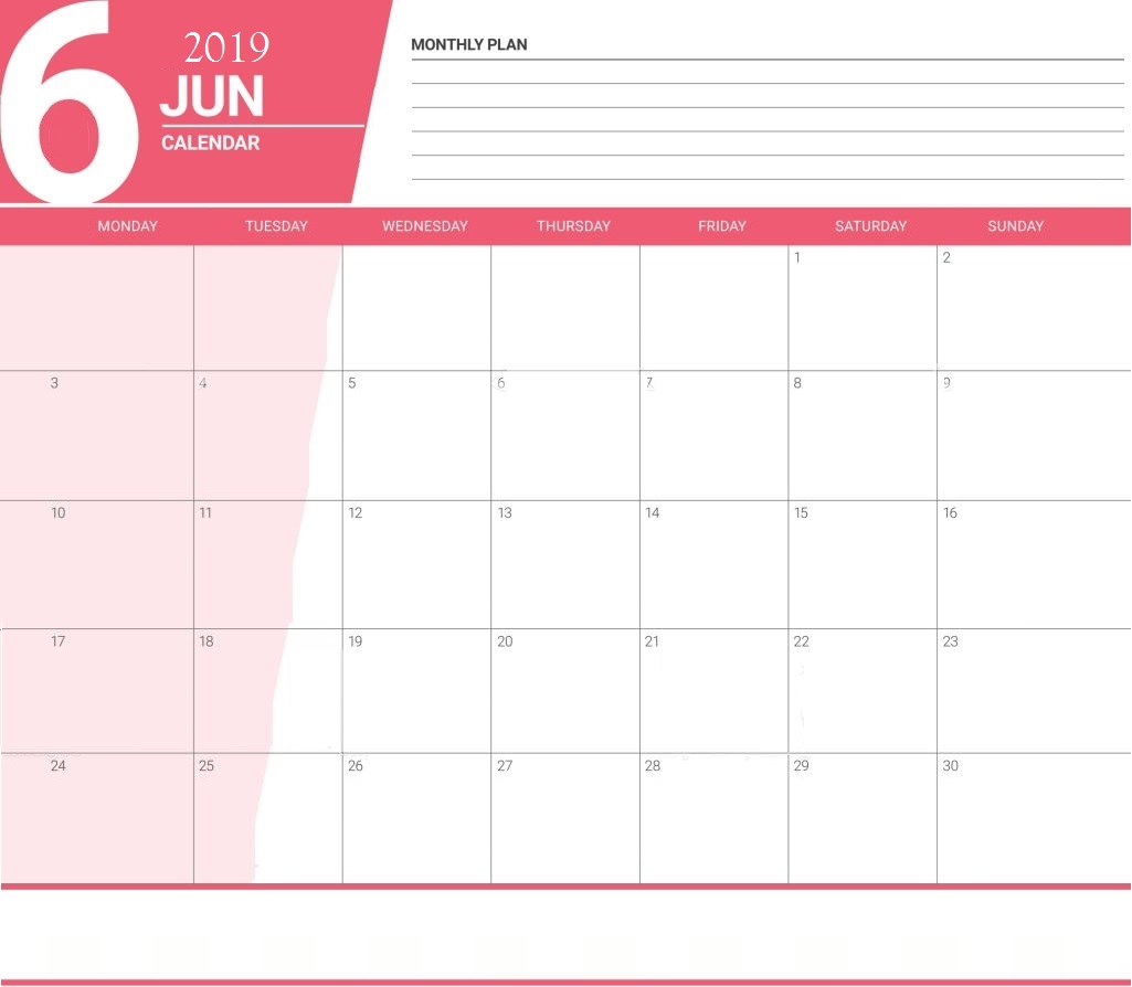 June 2019 Planner Calendar For Office