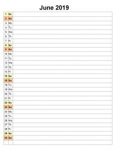June 2019 Planner Excel Template