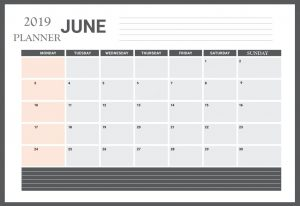 June 2019 Table Calendar