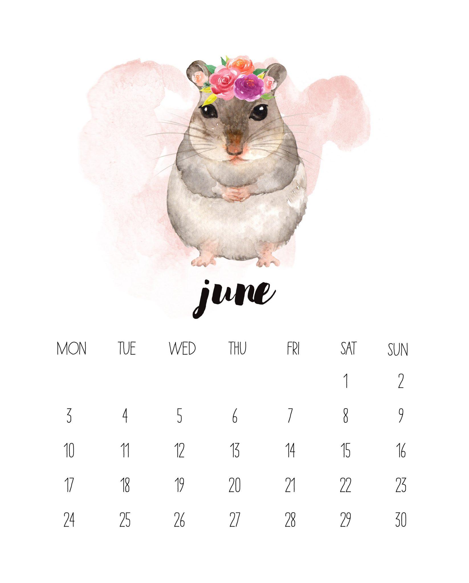 June 2019 Watercolor Calendar Design