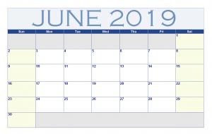 June 2019 Word Calendar