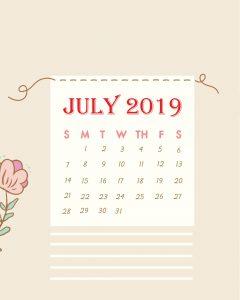 Latest July 2019 Desk Calendar Design