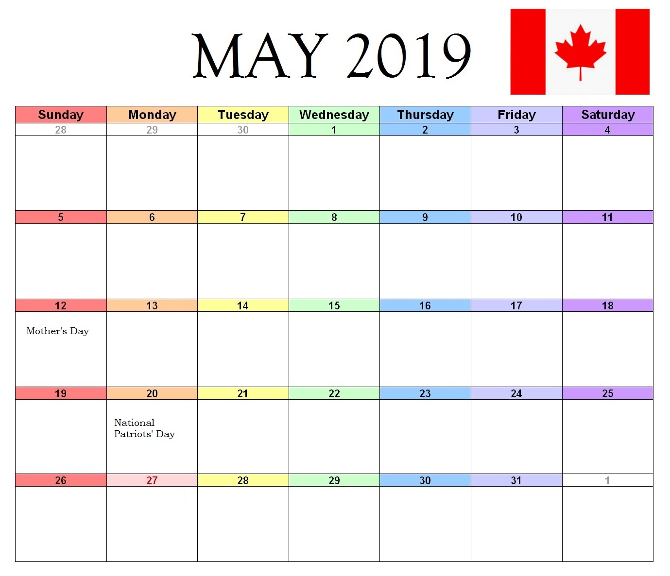 May 2019 Canada Federal Holidays Calendar
