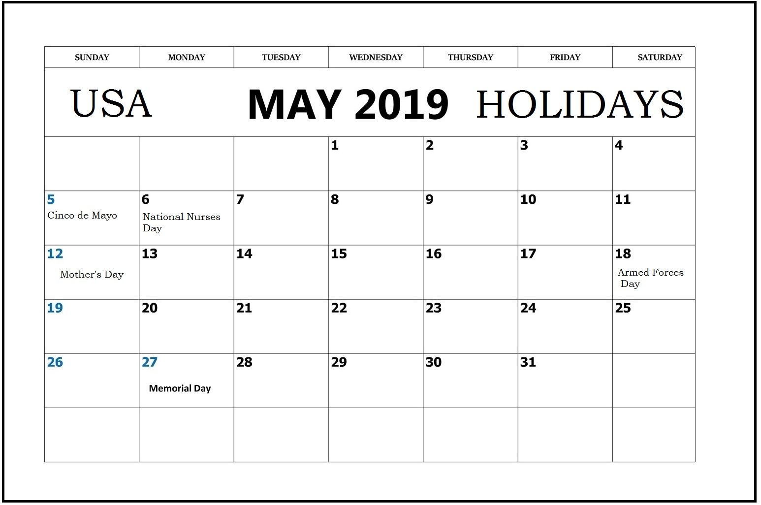 May 2019 National Holidays Calendar US