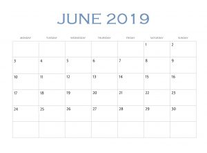 Online June 2019 Edit Calendar