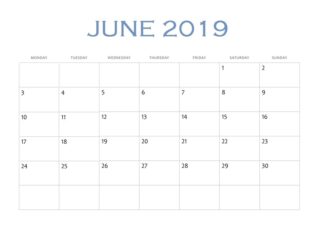 Online June 2019 Edit Calendar