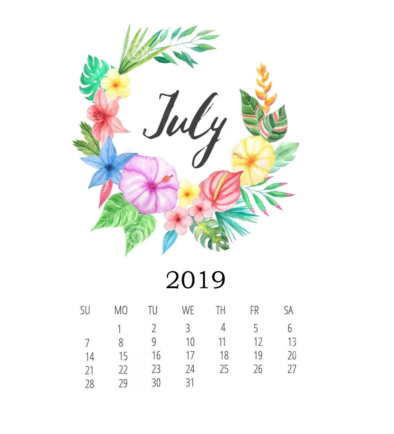 Print Floral July 2019 Calendar Template