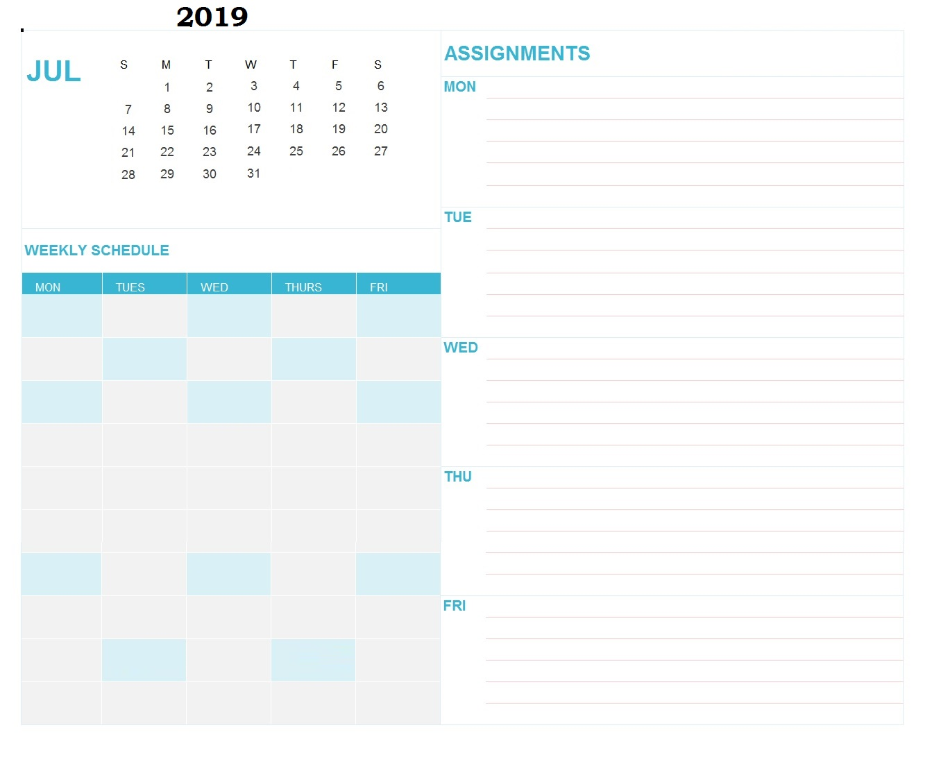 Print July 2019 Day Schedule Calendar