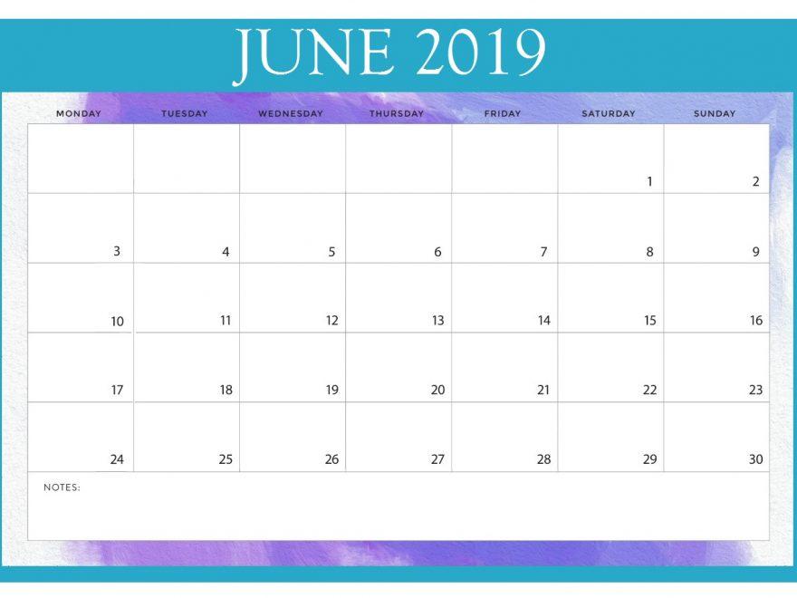 Print June 2019 Calendar Online