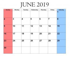 Print June 2019 Calendar Word