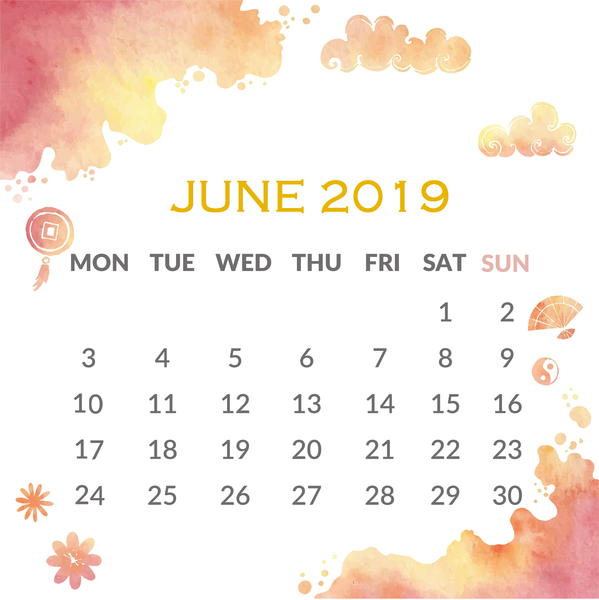 Print June 2019 Calendar for Wall