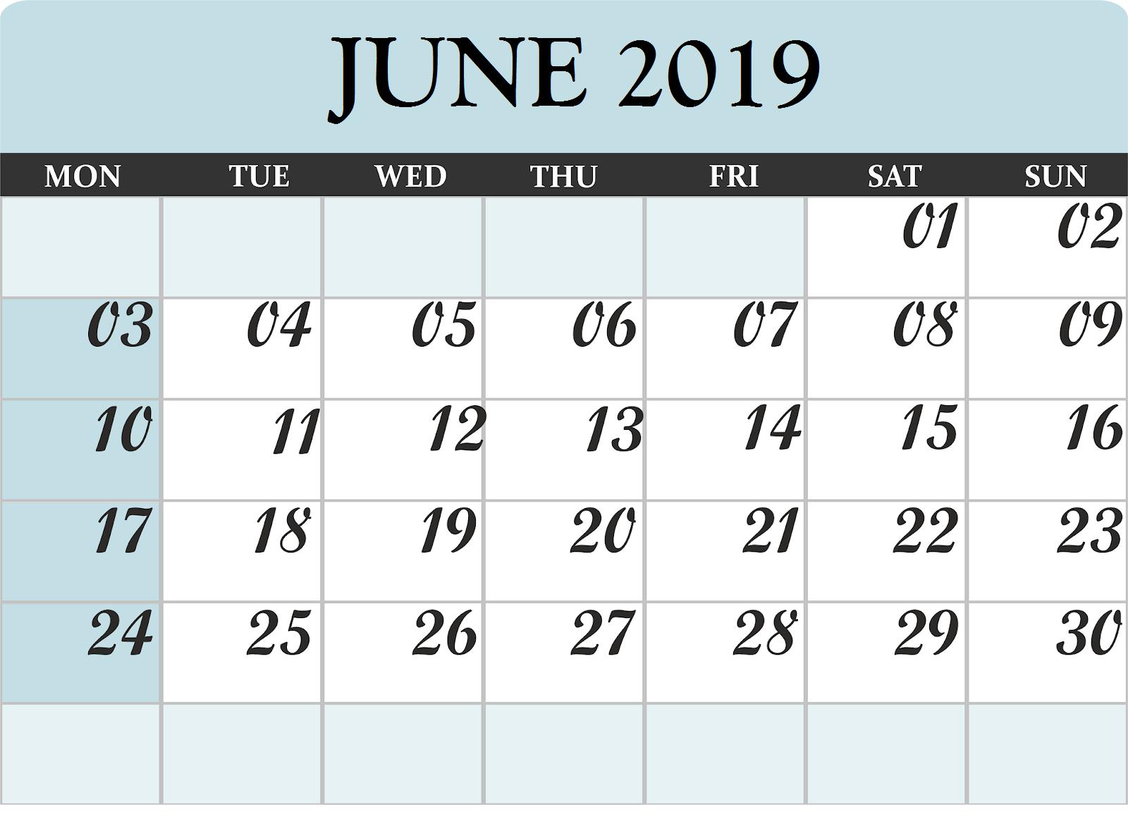Print June 2019 Desk Calendar Free