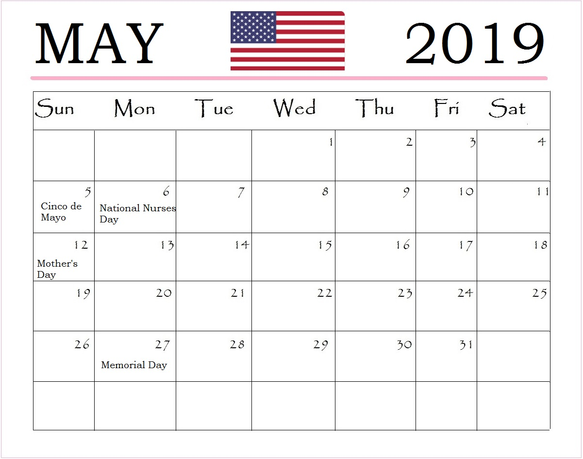 Print May 2019 USA Holidays Calendar