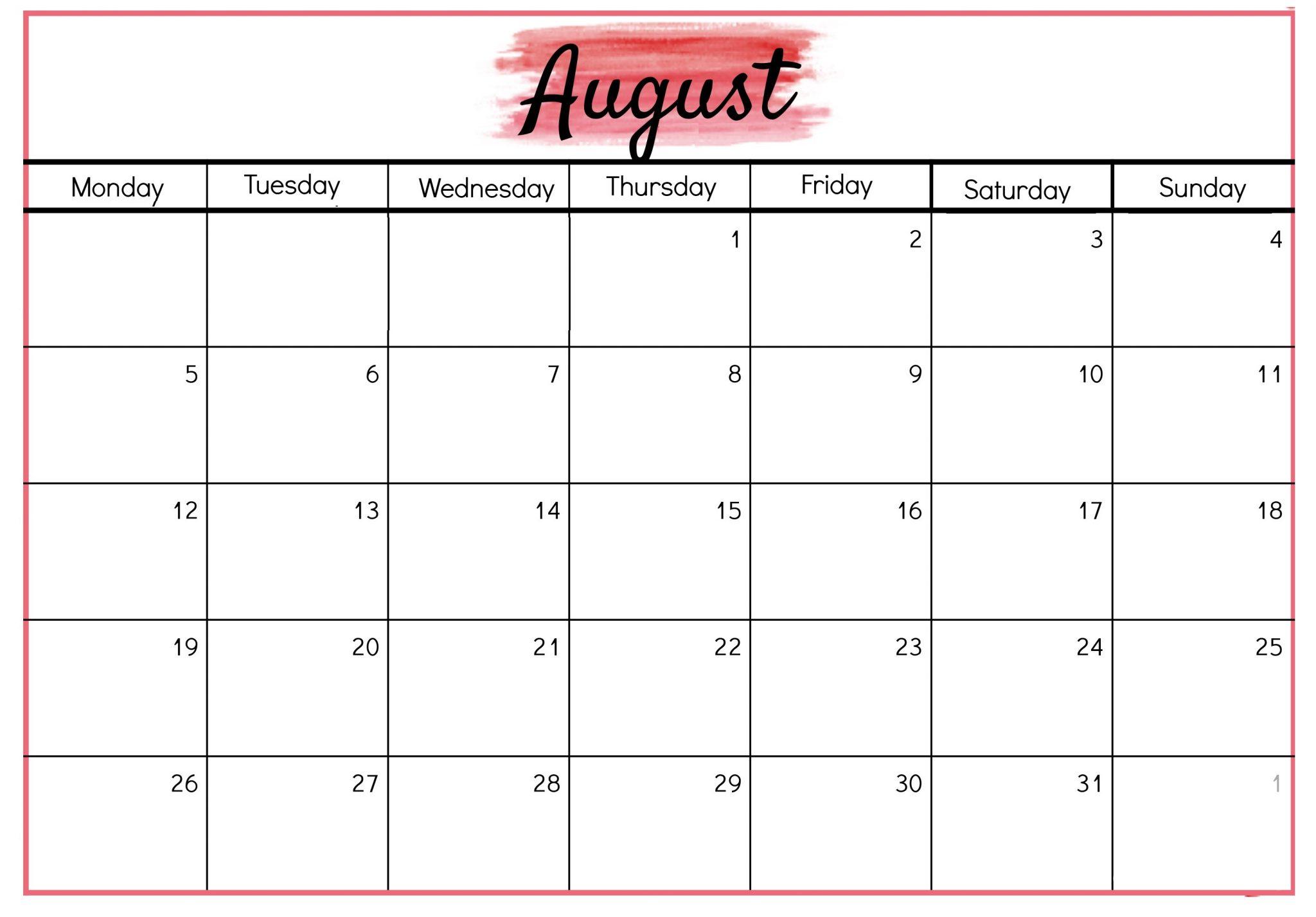Printable August 2019 Blank Calendar