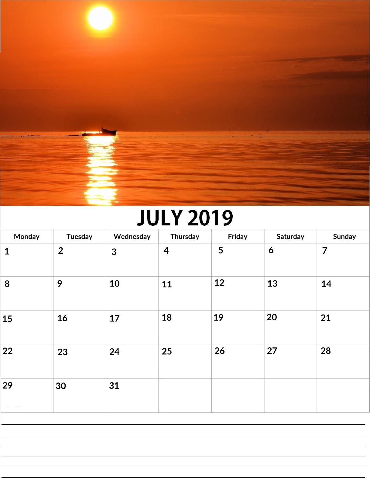 Printable July 2019 Wall Calendar
