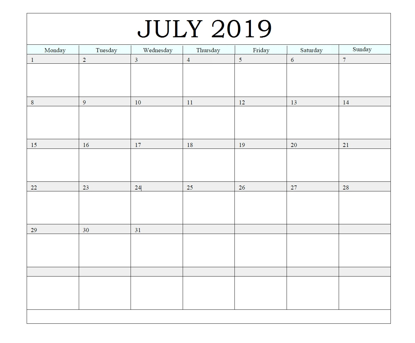 Printable July 2019 Waterproof Calendar