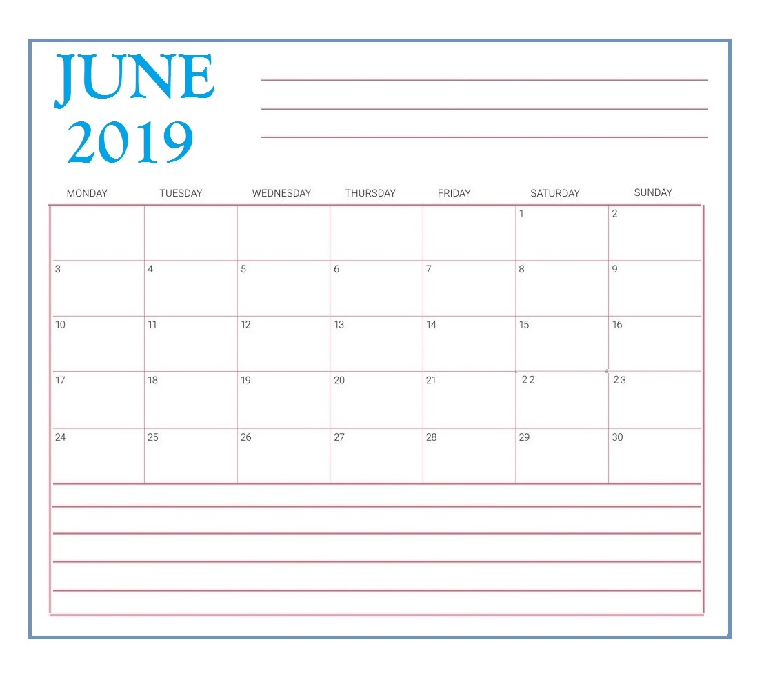 Printable June 2019 Desk Template