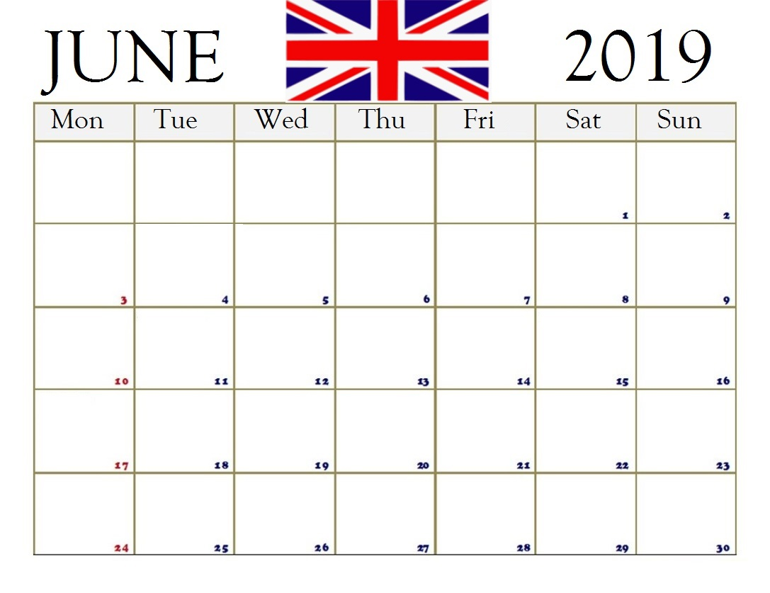 The United Kingdom June 2019 Holidays Calendar