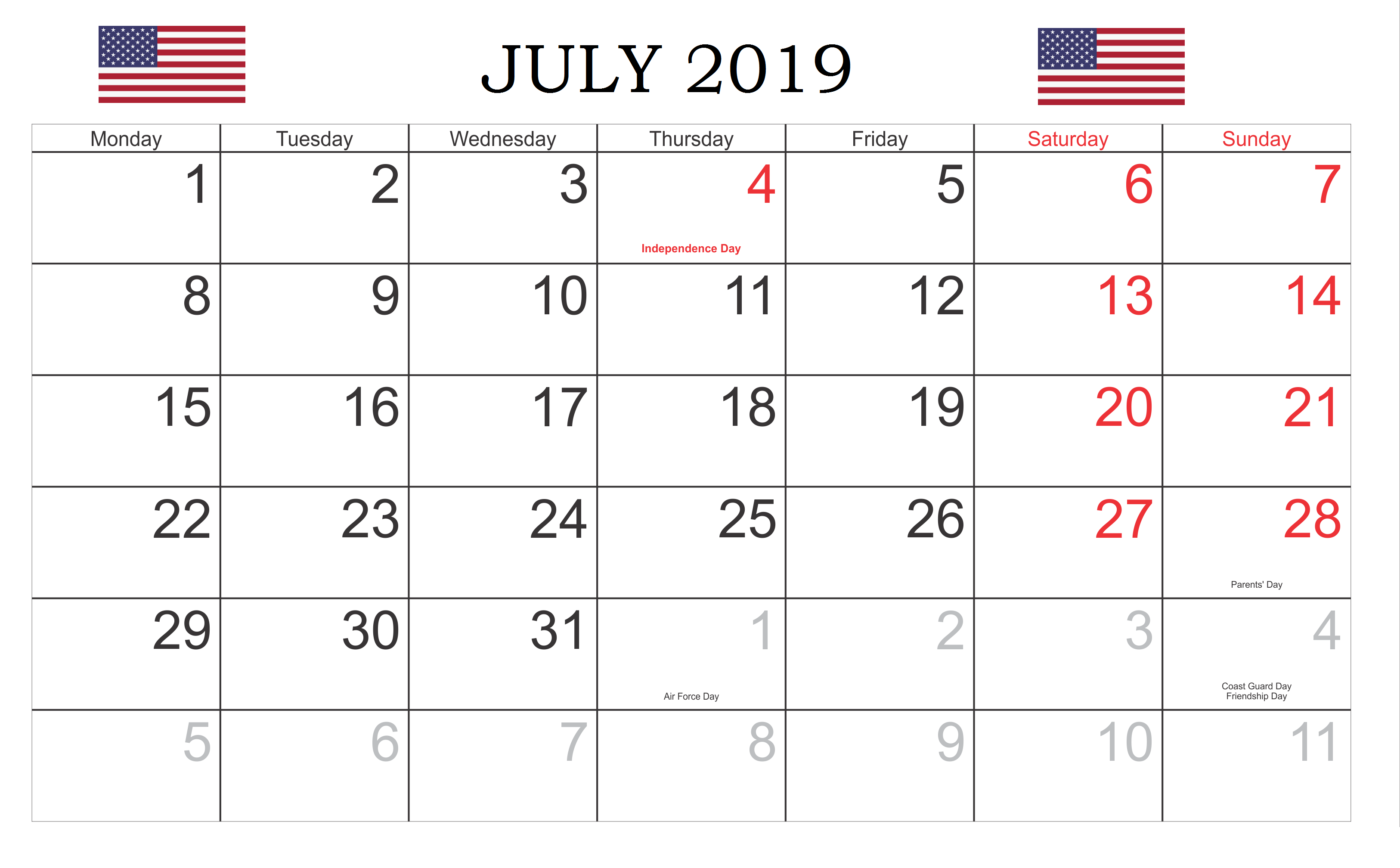 The United States Holidays July 2019