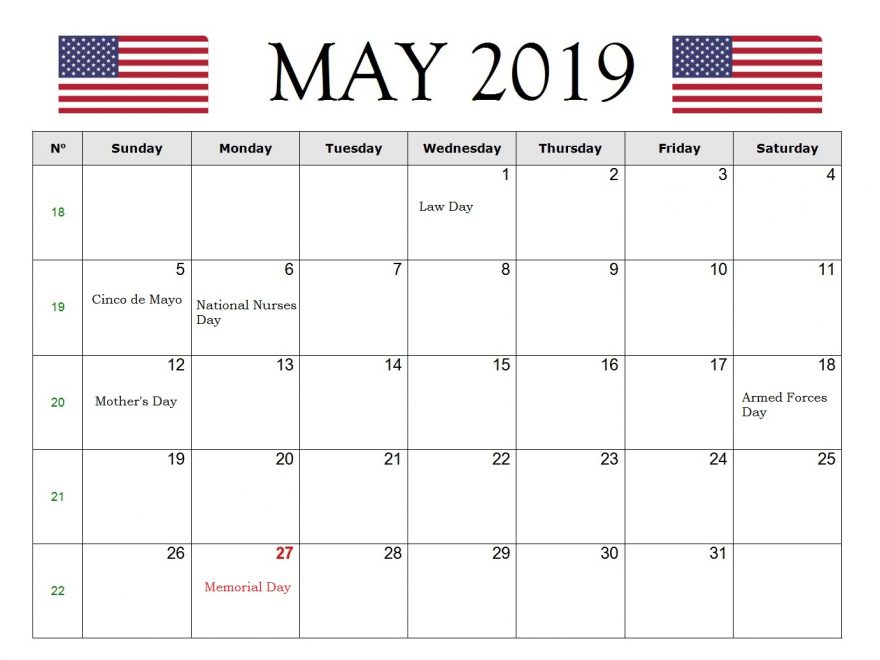 The United States May 2019 Holidays Calendar