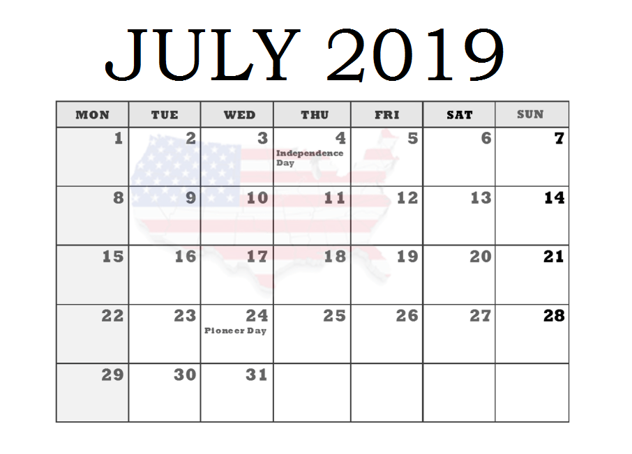 Canada July 2019 Bank Holidays Calendar