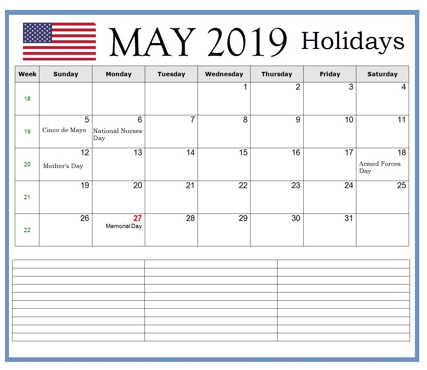 US May 2019 Bank Holidays Calendar