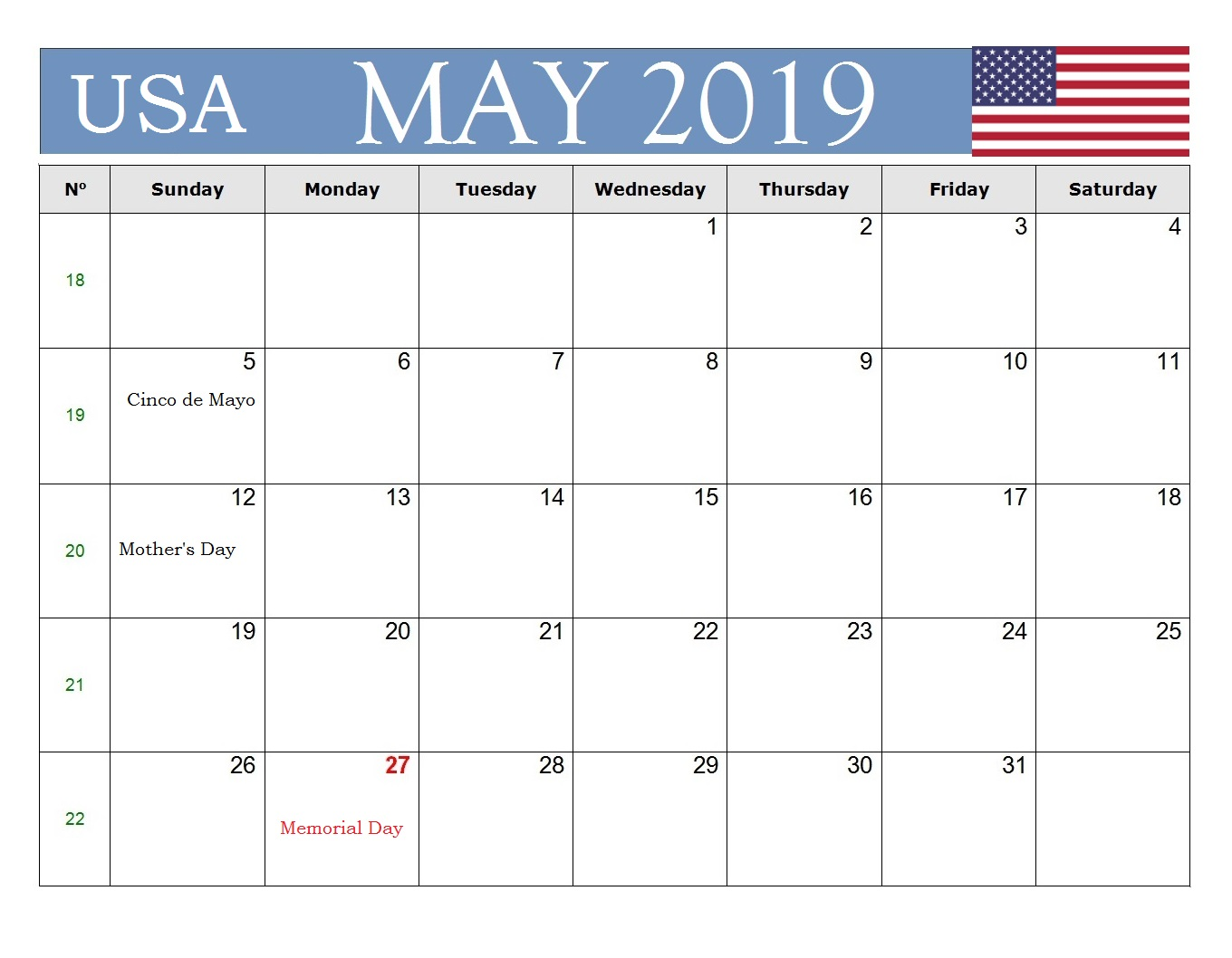 USA Federal May 2019 Holidays Calendar