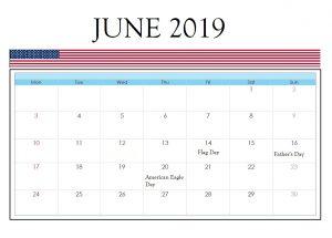 USA Holidays June 2019 Calendar