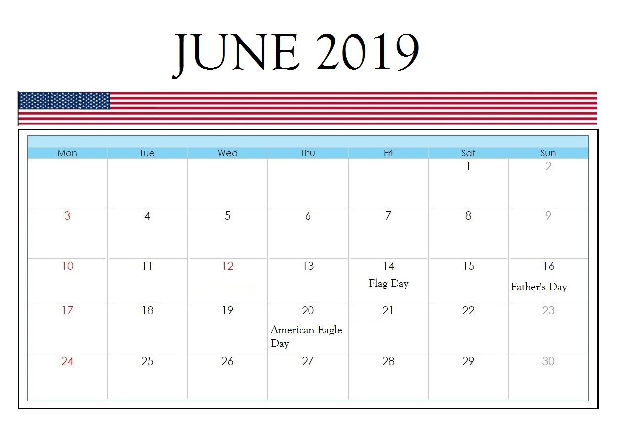 USA Holidays June 2019 Calendar