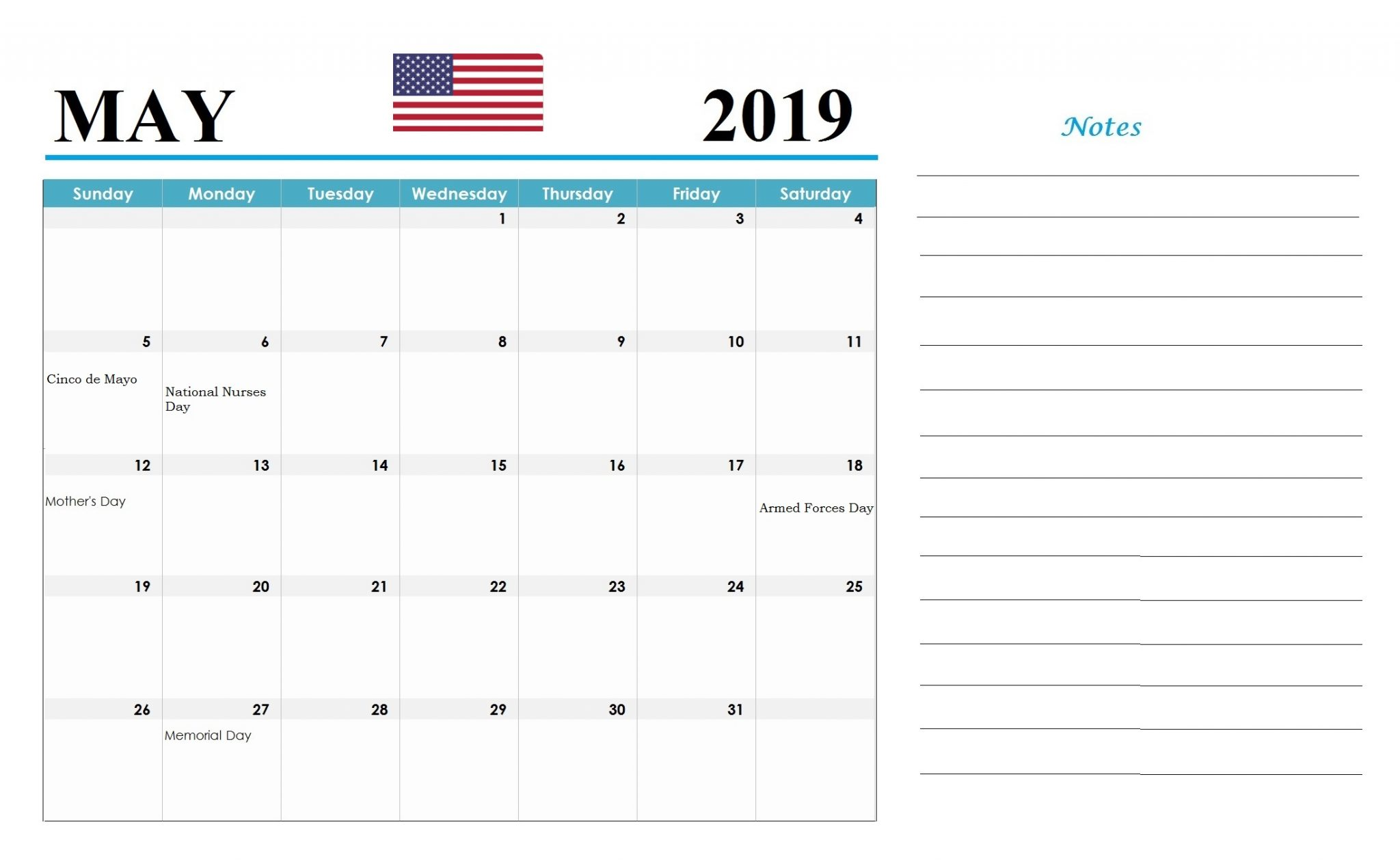 USA Local Holidays May 2019