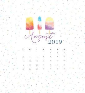 Unique August 2019 Calendar Template Design